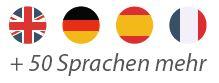 Flaggen: Englisch, Deutsch, Spanisch, Französisch und 50 Sprachen mehr mit der Sprachschule educom als Fremdsprache lernen