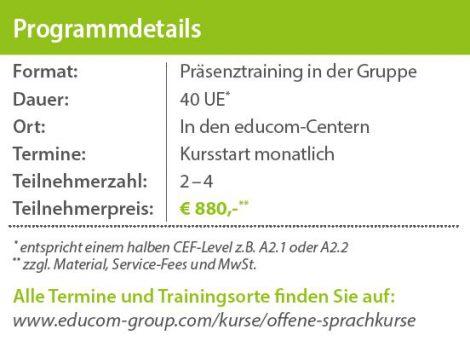 Preisinfos offener Sprachkurs deutsch englisch - educom